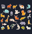 big collection stickers with cute animals vector image