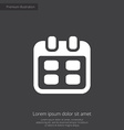 calendar premium icon white on dark background vector image vector image