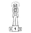 cartoon winner businessman with trophy standing on vector image vector image