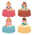 children eating kids eat dinner table child vector image vector image