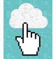 Cloud computing cursor icon hand vector image vector image