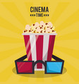 colorful poster of cinema time with 3d glasses and vector image vector image