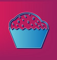 cupcake sign blue 3d printed icon on vector image vector image