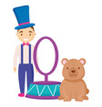 cute circus bear with magincian characters vector image