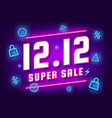 december 12 super sale shopping day neon sign vector image vector image
