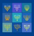 different modern menorah icons for hanukkah vector image