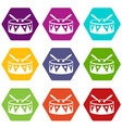 drum and drumsticks icon set color hexahedron vector image vector image