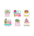 enjoy summer vacation logo design templates vector image