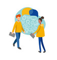 flat infographics man and woman with consumer vector image vector image