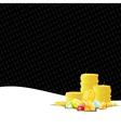 Golden coins and gemstones gambling background vector image