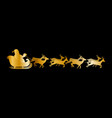golden silhouette of santa flying in sleigh vector image