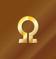Golden style omega letter symbol vector image