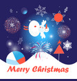 greeting card with snowman and snowflakes vector image
