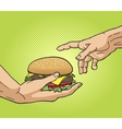 Hand gives a burger to other hand pop art vector image vector image