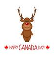 happy comic moose canada day vector image