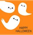 happy halloween three flying ghost spirit set vector image