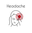 headache linear icon young asian woman vector image vector image