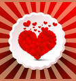 heart with small hearts on retro red label vector image