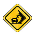 landslides on the road traffic signal icon vector image vector image