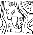 linear art people man and woman vector image