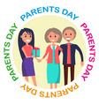 parents day banner showing happy family vector image vector image