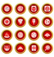 pizza icon red circle set vector image vector image