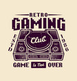 retro gaming club emblem with game console vector image vector image