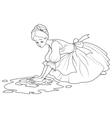 Sad Cinderella Wash the Floor vector image vector image