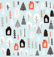 seamless pattern with winter houses wood trees vector image