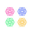 set of islamic hexagon window frame art vector image vector image