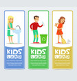 set of vertical banners with children characters vector image vector image