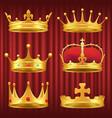 set royal crowns tiaras and diadems vector image vector image