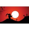 Silhouette of warlock halloween in tomb vector image vector image
