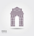 stylized silhouette indian gate in new delhi vector image vector image