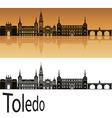 Toledo skyline in orange vector image vector image