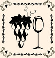 vintage grapes and wine vector image vector image