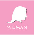 woman logo on pink background vector image vector image
