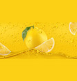 yellow drops lemon 3d realistic vector image vector image