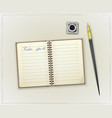 detailed retro notebook inkwell and pen vector image