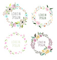a floral wreath set with signatures vector image vector image