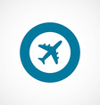 airplane bold blue border circle icon vector image
