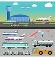airport with airplane vector image vector image