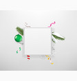 blank white frame with holiday accesories vector image vector image
