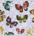 bright spring butterflies swirl in a snowy vector image vector image