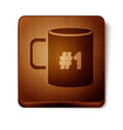 brown coffee cup flat icon isolated on white vector image vector image