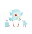 Cartoon Fun and Cute Mother Bird with her Babies vector image vector image