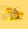 cartoon pot with wooden honey vector image