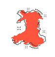 cartoon wales map icon in comic style wales sign vector image vector image