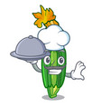 chef with food flowers character on a zuchini vector image