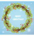 Christmas wreath with berries and snow vector image vector image